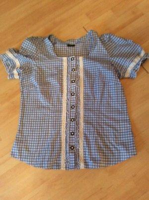Laura Torelli Folkloristische hemd staalblauw-wit