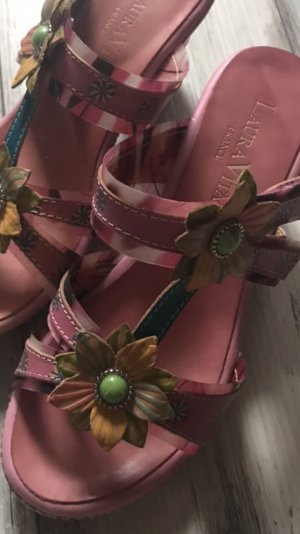 Laura T-Strap Sandals pink-pink leather