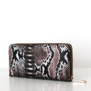 LAURA Wallet Schlangenleder Optik Perlmutt Braun Snake Print