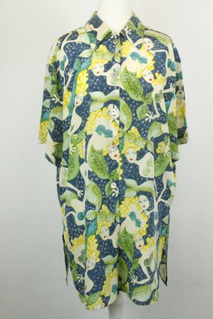 Laurèl Bluse Hemd Seidenbluse Gr. 34 blau grün Meerjungfrau kurzarm oversized