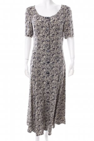 Laurèl Blusenkleid schwarz-beige florales Muster Vintage-Artikel