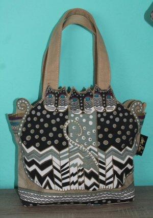 Laurel Burch Tasche Canvas `Tres Gatos` Polka Dot Medium Tote Bag
