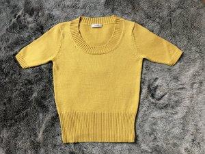 Laurel Design, trendiges Gelb, Wolle, Seide, Cashmere, Pulli mit kurzem Arm, auch gut unter Blazer
