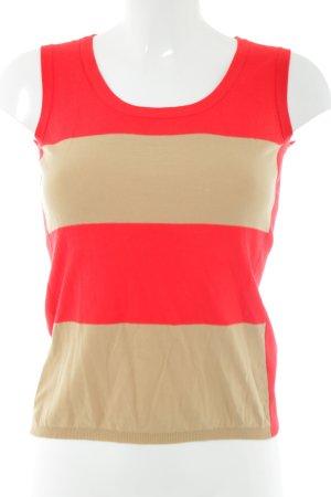 Laurèl Cardigan en maille fine rouge-rose chair motif rayé style décontracté