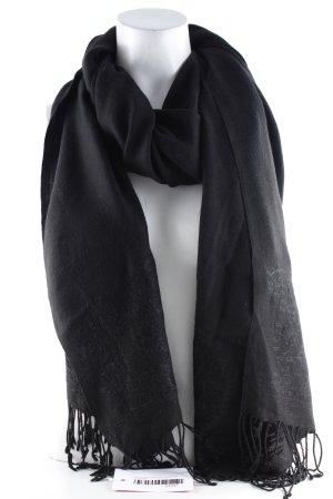 Laurèl Sjaal met franjes zwart bloemen patroon simpele stijl