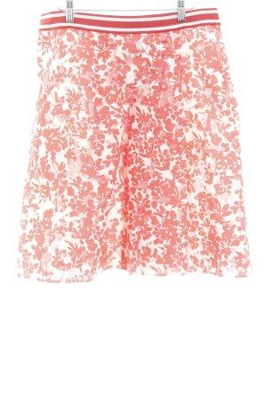 Laurèl Falda de talle alto blanco puro-rojo claro estampado floral