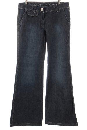 Laurèl Jeansschlaghose blau-wollweiß Washed-Optik
