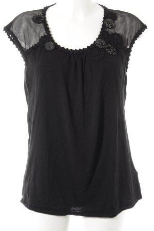 Laurèl Kurzarm-Bluse schwarz Elegant