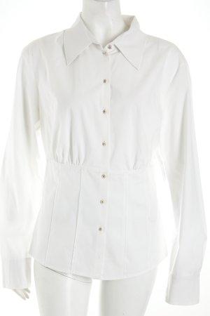 Laurèl Langarm-Bluse weiß schlichter Stil