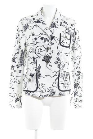 Laurèl Langarm-Bluse weiß-schwarz Motivdruck Casual-Look