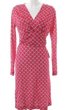 Laurèl Langarmkleid pink-weiß abstraktes Muster Hippie-Look