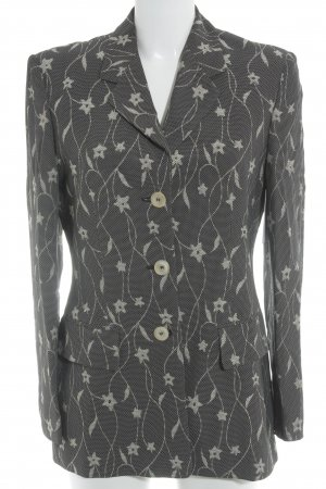 Laurèl Long-Blazer schwarz-hellbeige florales Muster Business-Look