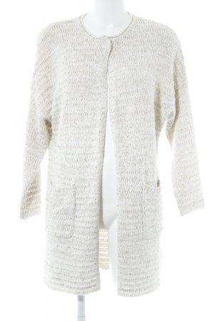 Laurèl Long Knitted Vest natural white-gold-colored loosely knitted pattern