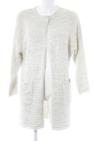 Laurèl Gilet long tricoté blanc cassé-doré motif tricoté lâche