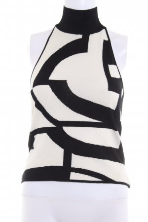 Laurèl Halter Top black-natural white abstract pattern simple style