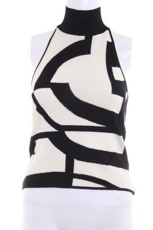 Laurèl Neckholdertop schwarz-wollweiß abstraktes Muster schlichter Stil