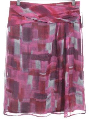 Laurèl Seidenrock rot-purpur Farbtupfermuster Street-Fashion-Look