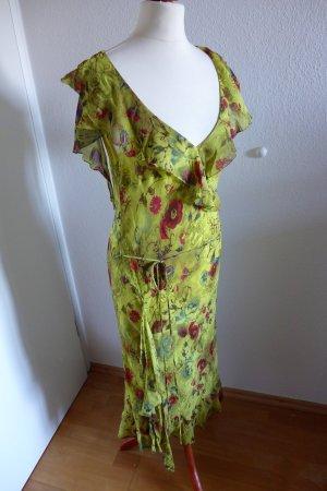 Laurel Sommerkleid Seide limette gelb rot grün Gr. 40 top