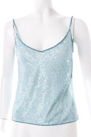 Laurèl Haut à fines bretelles turquoise style transparent