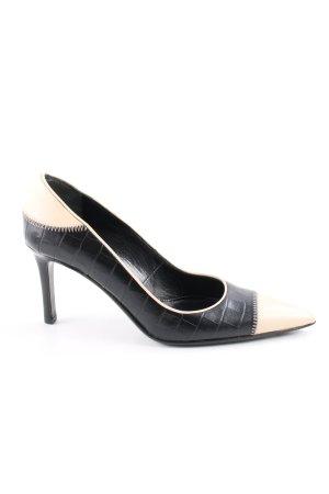 Laurèl Zapatos de punta negro-crema estilo «business»