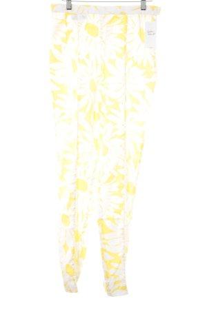 Laurèl Stoffhose weiß-gelb Blumenmuster Beach-Look