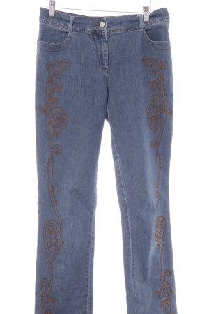 Laurèl Straight-Leg Jeans stahlblau florales Muster Casual-Look