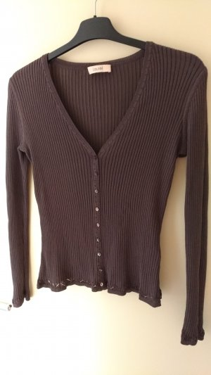Laurèl Fine Knitted Cardigan light brown-bronze-colored cotton