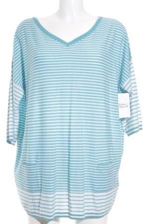 Laurèl V-Ausschnitt-Pullover weiß-hellblau Streifenmuster Casual-Look