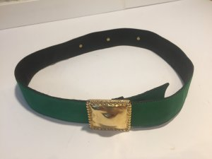 Laurèl Vintage-Gürtel aus grünem Leder mit Gold-Elementen