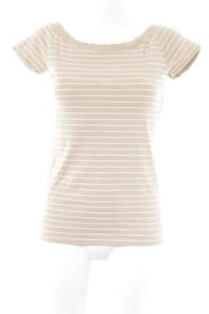 Lauren by Ralph Lauren Basic Top sandbraun-weiß Ringelmuster Casual-Look