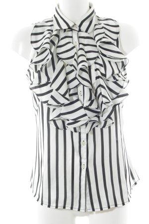 Lauren by Ralph Lauren Blusentop weiß-schwarz Streifenmuster Elegant