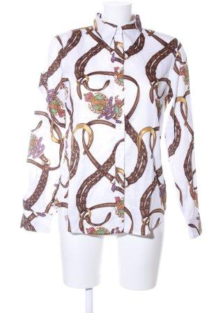 Lauren by Ralph Lauren Hemd-Bluse weiß-braun abstraktes Muster Business-Look