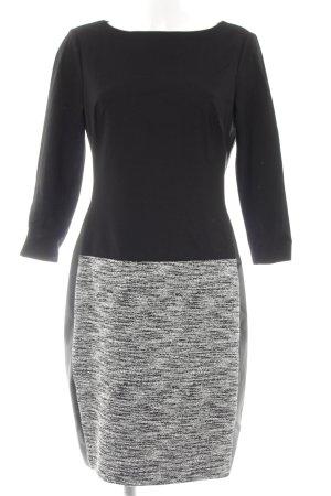 Lauren by Ralph Lauren Kurzarmkleid schwarz-weiß meliert klassischer Stil