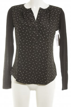 Lauren by Ralph Lauren Langarm-Bluse schwarz-creme grafisches Muster Elegant