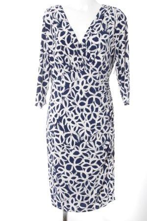 Lauren by Ralph Lauren Langarmkleid weiß-dunkelblau florales Muster