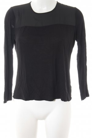 Lauren by Ralph Lauren Longsleeve schwarz Materialmix-Look