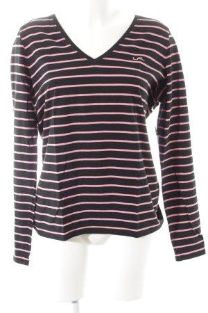 Lauren by Ralph Lauren Longsleeve schwarz-rosa Streifenmuster Casual-Look