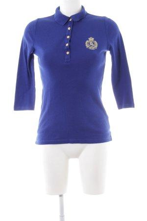 Lauren by Ralph Lauren Polo-Shirt blau Schriftzug gestickt Casual-Look