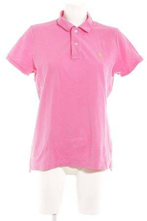 Lauren by Ralph Lauren Polo-Shirt magenta sportlicher Stil