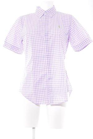 Lauren by Ralph Lauren Polo-Shirt weiß-blasslila Karomuster Casual-Look