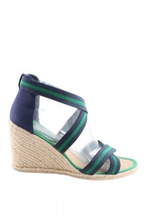 Lauren by Ralph Lauren Strapped High-Heeled Sandals blue-green striped pattern