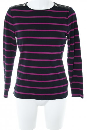 Lauren by Ralph Lauren Ribbed Shirt black-violet striped pattern casual look