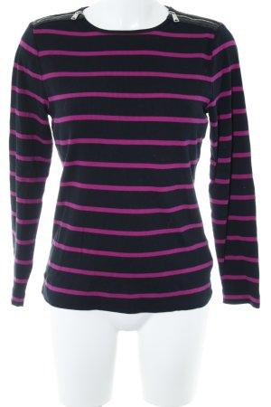 Lauren by Ralph Lauren Rippshirt schwarz-violett Streifenmuster Casual-Look