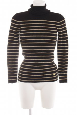 Lauren by Ralph Lauren Turtleneck Sweater black-gold-colored striped pattern