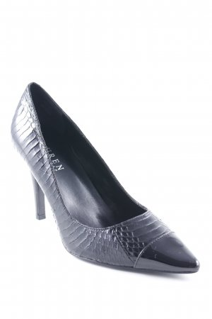 Lauren by Ralph Lauren Spitz-Pumps schwarz Animalmuster Glanz-Optik