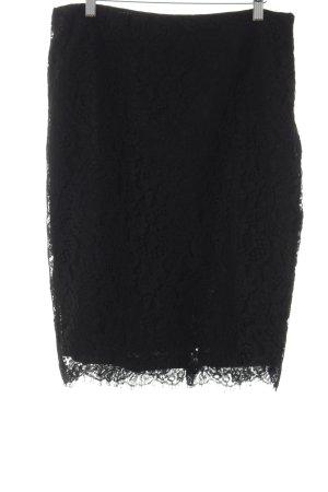 Lauren by Ralph Lauren Spitzenrock schwarz florales Muster Elegant