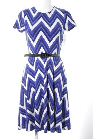 Lauren by Ralph Lauren Stretchkleid weiß-blau Zackenmuster Elegant