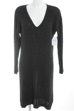 Lauren by Ralph Lauren Robe en maille tricotées gris anthracite torsades