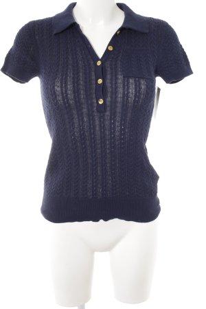 Lauren by Ralph Lauren Camisa tejida azul oscuro Patrón de tejido