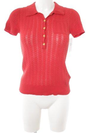 Lauren by Ralph Lauren Camisa tejida rojo punto trenzado estilo clásico